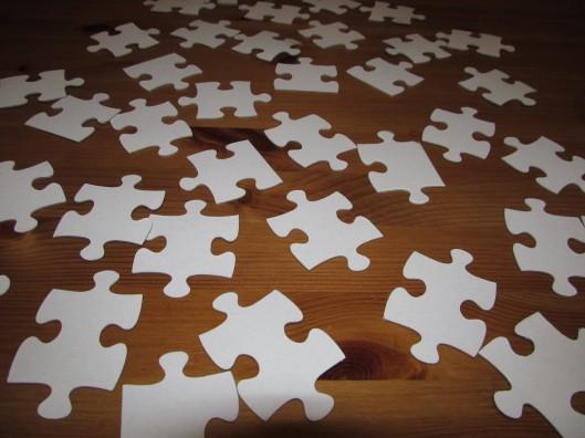 Puzzle pieces, face down